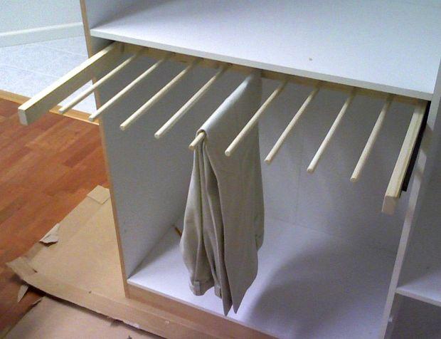 DIY sliding pants rack for a closet (via www.instructables.com)