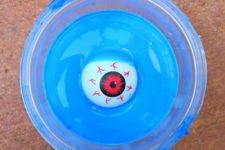 DIY blue eyeball slime for Halloween