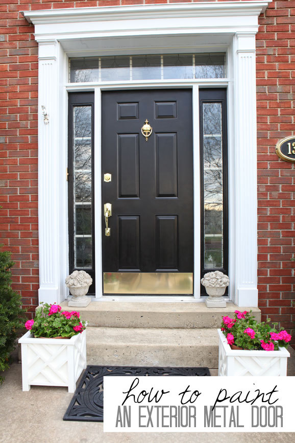 How to paint your front door 12 tutorials shelterness - Painting a steel exterior door model ...