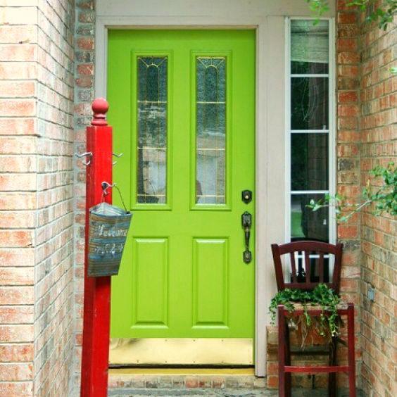 DIY lime green painted door (via modernmasterscafe.com)