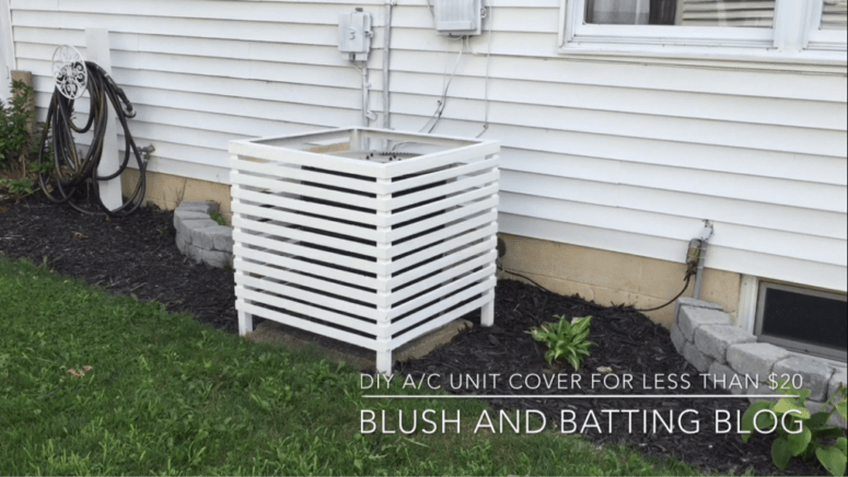 DIY AC unit cover of furring strips and one bundle of lath (via www.blushandbatting.com)