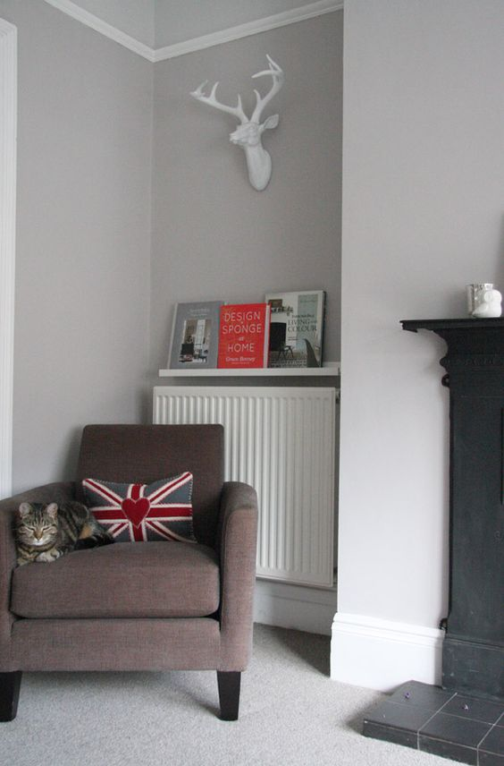picture ledge over the radiator to hold magazines and books