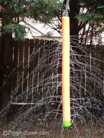 DIY pool noodle water sprinkler (via www.ziggityzoom.com)