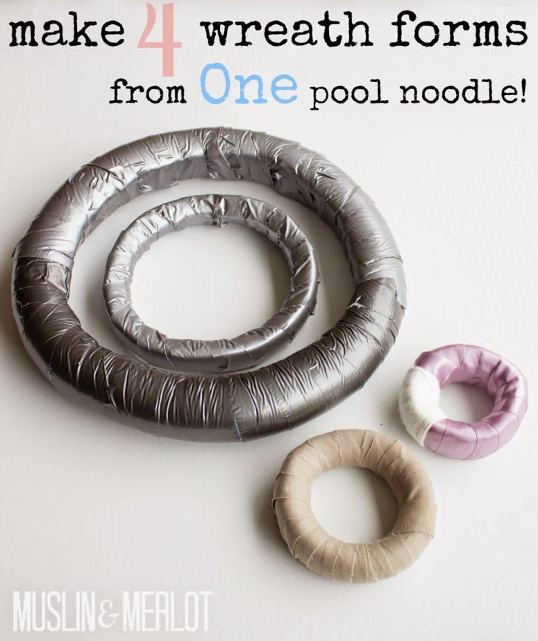 DIY pool noodle wreath forms (via muslinandmerlot.blogspot.ru)
