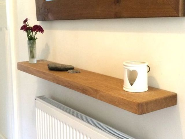 soild oak floating shelf for a hallway