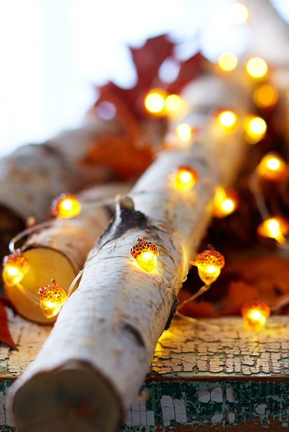 acorn shaped lights to gently illuminate your autumn decor