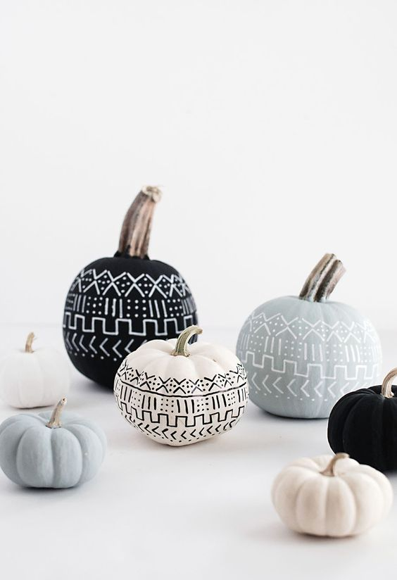 black, white and pastel pumpkins with a pattern