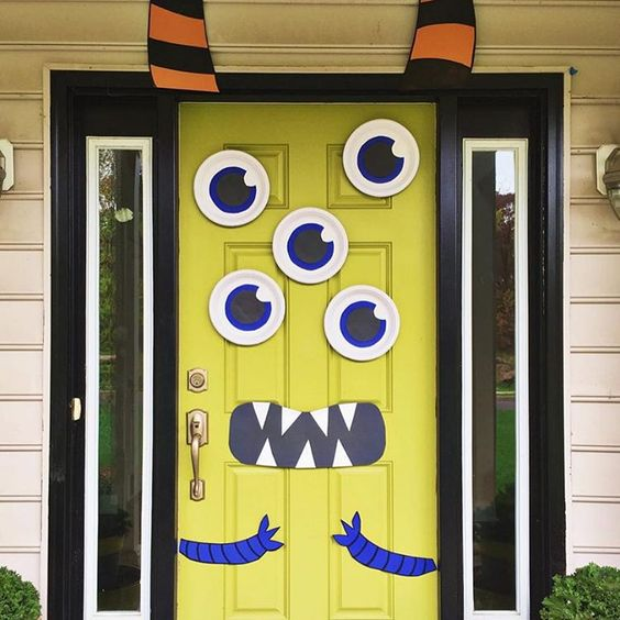 fun cartoon monster Halloween door decor