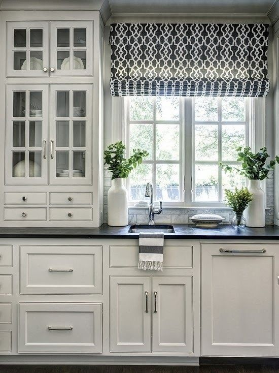 patterned roman shades are one of the most popular ideas for kitchens - Kitchen Window Ideas