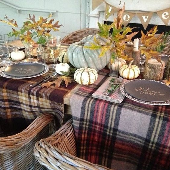 plaid table throws are ideal instead of usual tablecloths