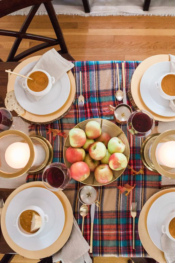 bold plaid tablecloth for a fall meal
