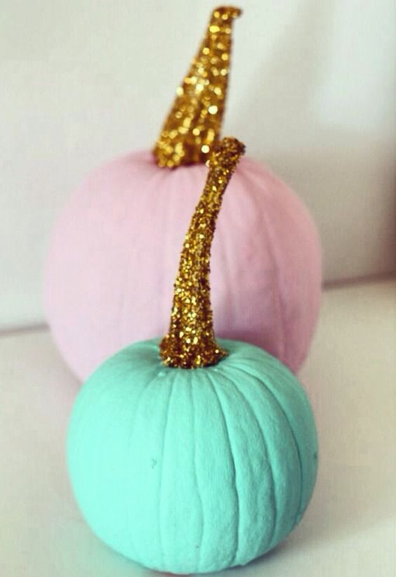glam pastel pumpkins with glitter stems for a modern chic Halloween