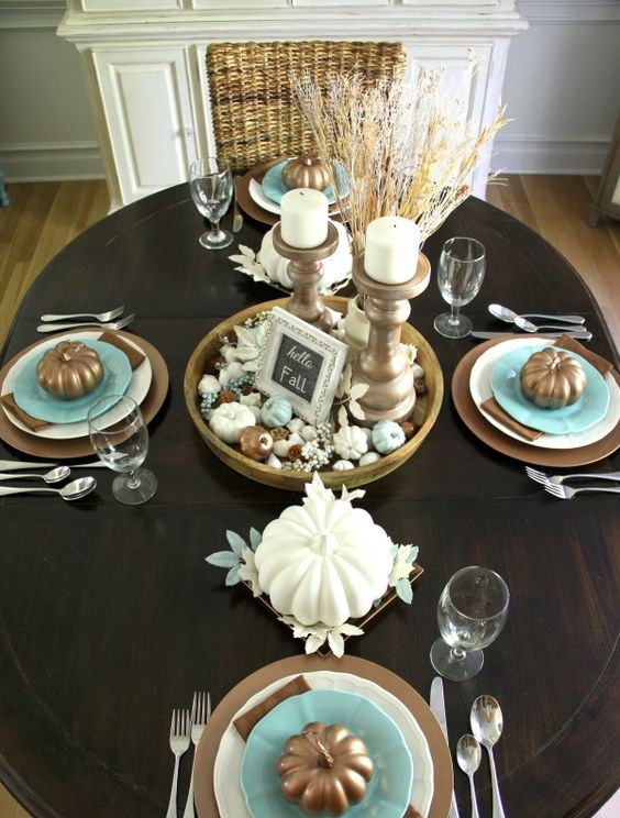 Wonderful Casual Coastal Table Decor With A Bronze Pumpkins And A Beach Shade  Centerpiece