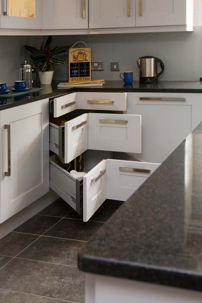corner drawers will give you maximum of the space inside