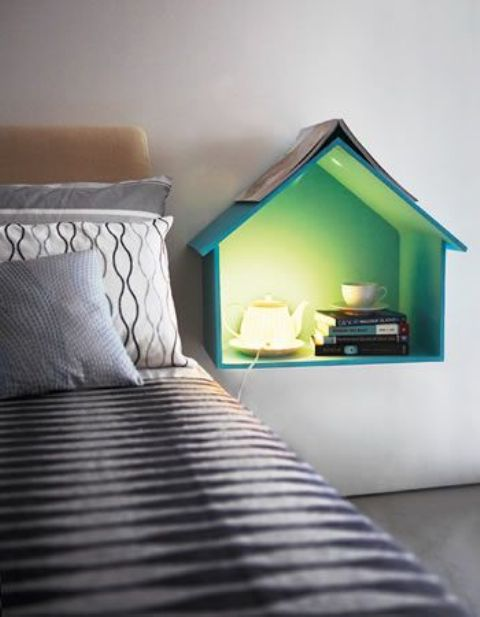 wall-mounted house-shaped shelf