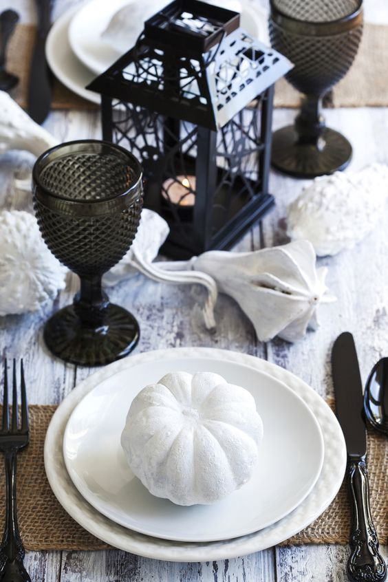 black and white tablescape with a rustic touch