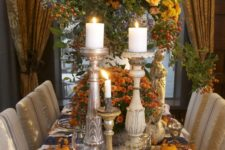 05 traditional tablescape with lots of orange, pumpkins and candles