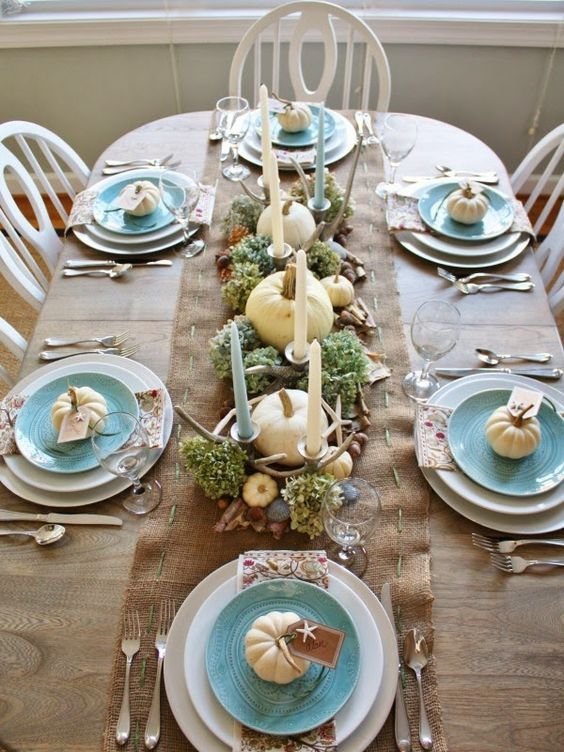 Coastal Thanksgiving Table Decorated In Cream, Watery Blue With Pumpkins,  Hydrangeas And Star Fish