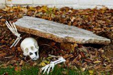 skeleton yard decor