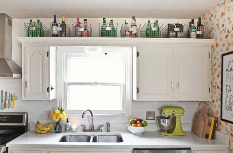 24 Creative Small Kitchen Storage Ideas - Shelterness on to put stuff in cabinets, pinterest decorating top of kitchen cabinets, brands of kitchen cabinets, decorating the top of my kitchen cabinets, things that turn people into kitchen cabinets, down on the front top of cabinets, ideas for tops of cabinets, things to put on top of refrigerator, alternatives to upper kitchen cabinets, decorations to place on top of cabinets,