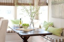 06 rustic shades add to the decor of this breakfast nook