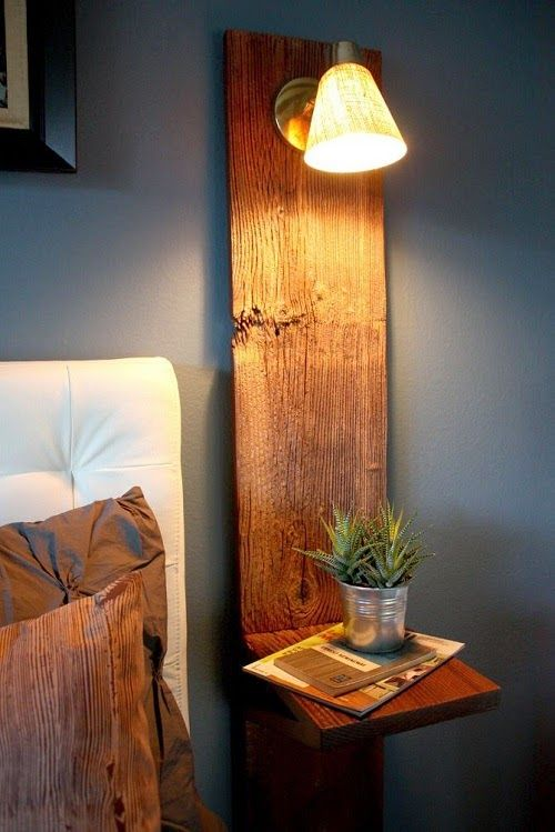vertical wooden plank with a shelf