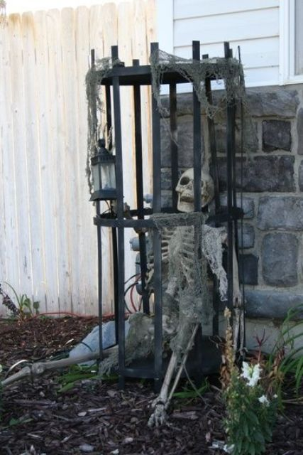 skeleton in a cage will be a great decoration in your outdoor spaces