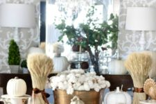 08 cozy holiday table with white pumpkins, a cotton centerpiece and wheat
