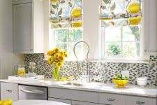 08 inexpensive floral fabric can be turned into kitchen shades