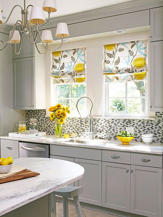 3 kitchen window treatment types and 23 ideas shelterness for Fabric shades for kitchen windows