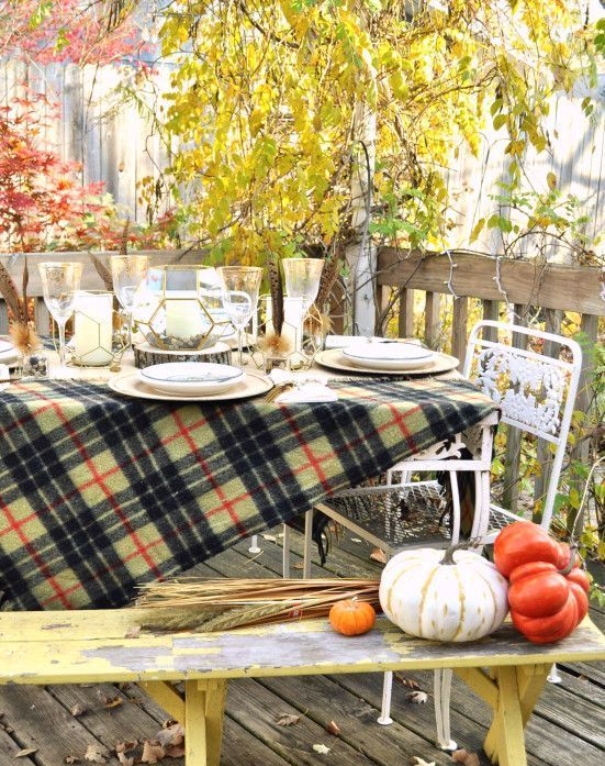 plaid tablecloth for an outdoor fall meal