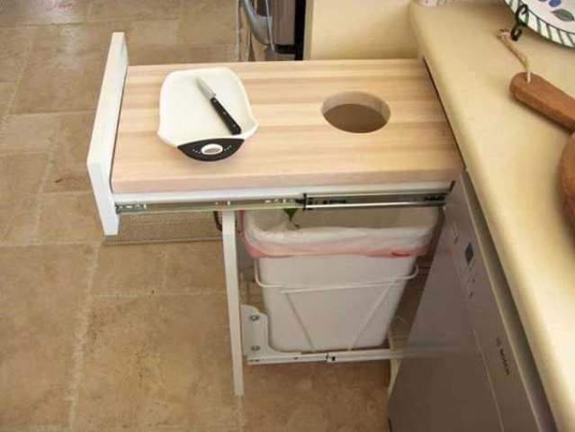 pull out cutting board will save space and scraps will be in trash at once