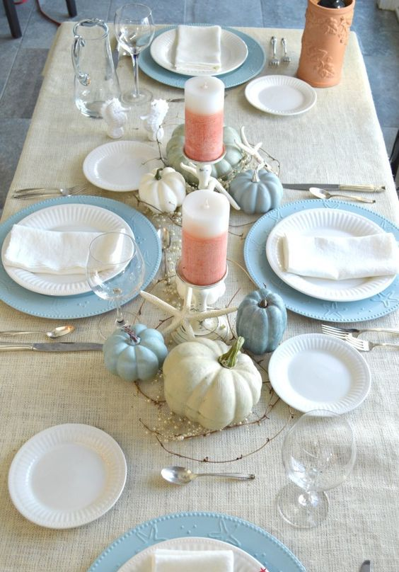 Cozy Thanksgiving Table Setting In Cream, Blue And Coral With Pumpkins