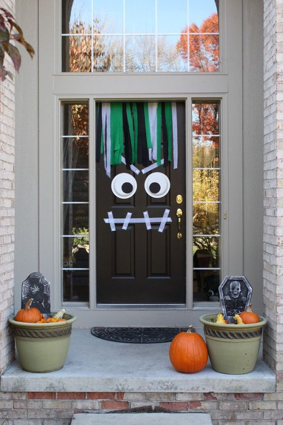 monster door decor with washi tape and googly eyes & 25 Halloween Front Door Décorations That You\u0027ll Love - Shelterness