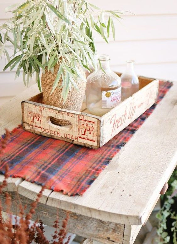 plaid flannel table runner to make your coffee table cozier