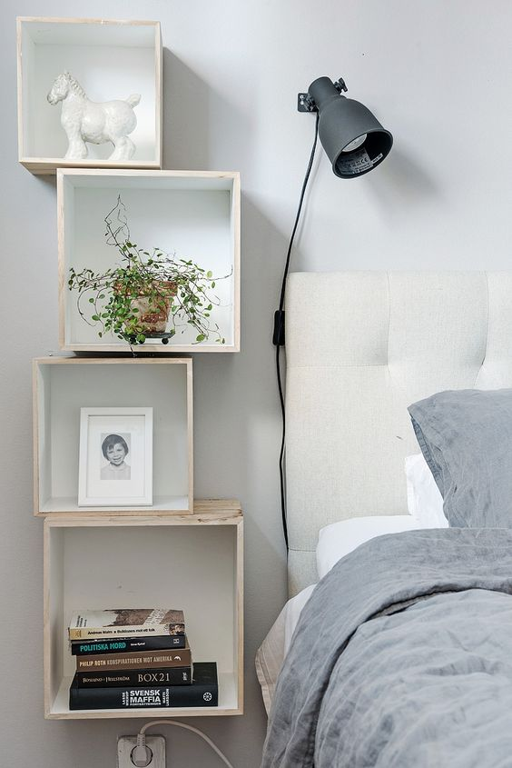 simple box shelving for a Scandinavian space