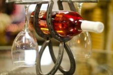 09 wine rack for a bottle and glasses