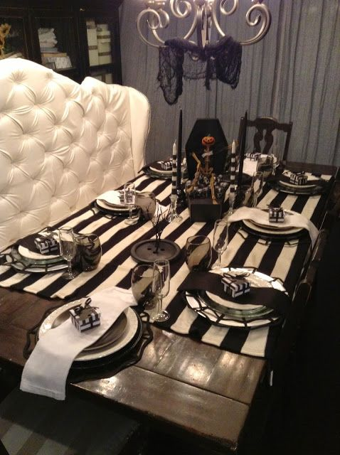Tim Burton inspired table in black and white