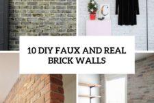 10 diy faux and real brick walls cover