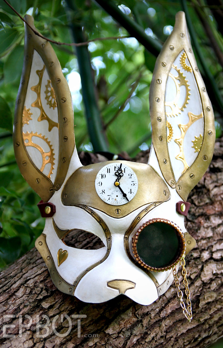 DIY steampunk rabbit mask (via www.epbot.com)