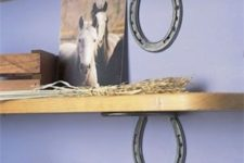 10 horseshoes for holding shelves