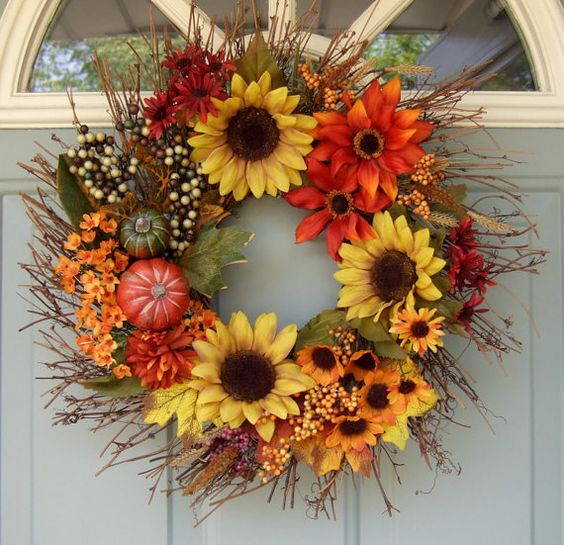 harvest wreath with faux sunflowers