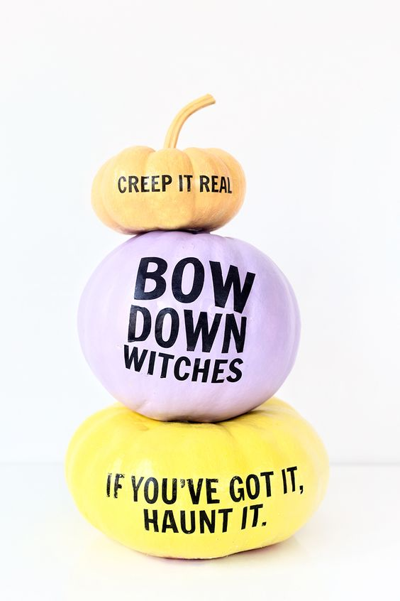 pastel pumpkins with fun quotes for an unusual party