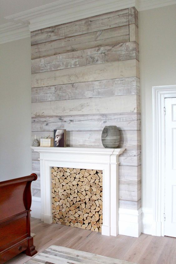 reclaimed wood and firewood inside look awesome and cozy