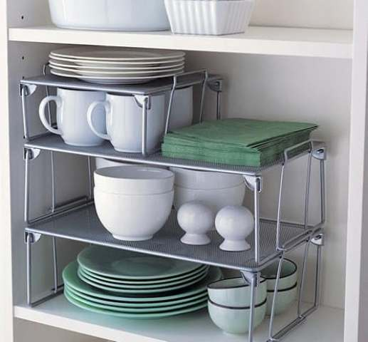 stackable shelves will give you the most of your kitchen cabinets