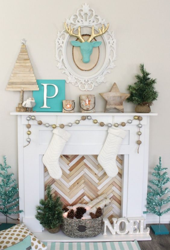 Christmas Faux Fireplace And Mantel Decor With Reclaimed Wood, Potted Fir  And Pinecones