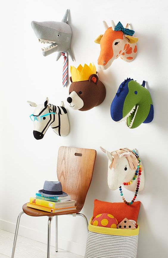 bold faux heads are ideal for all kinds of themed rooms and your kids will love them