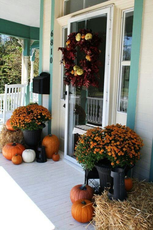 fall and Thanksgiving porch decor with pumpkins and orange flowers