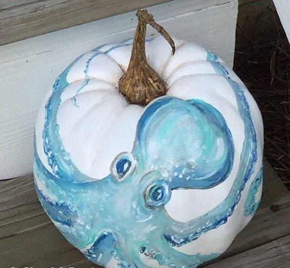 gorgeous handpainted octopus pumpkin