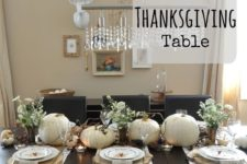 12 neutral tablescape with white pumpkins and wood slices as chargers